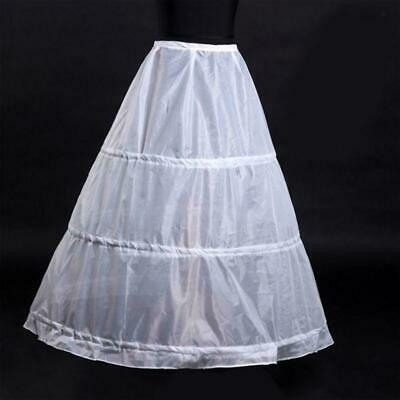 3-Hoop A-Line White Long Wedding Gown Crinoline Petticoat Supe Slips Unders F8G5