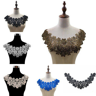Floral Embroidered Neckline Collar Lace Trim Clothes Sewing Applique Patches