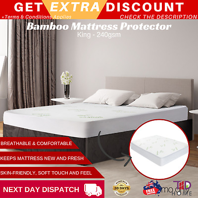 Giselle Bedding Waterproof Mattress Protector Bamboo Fibre Cotton Cover King New