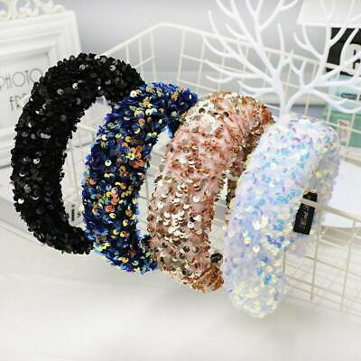 Women's Sequin Padded Headband Hairband Wide Hair Band Hoop Accessories Gift