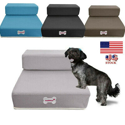 Foldable Pet Stairs Dog Cat Breathable Mesh Foldable Pet Cat Stairs 2 Steps USA