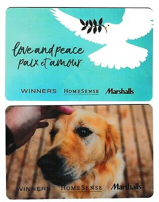 2 collectible WINNERS MARCHALLS HOMESENCE TJX STYLE+ gift card cards Canada dog