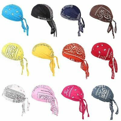 Men Durag Bandana Sport Doo Rag Scarf Head Tie Down Band Biker Cap Cool Lot
