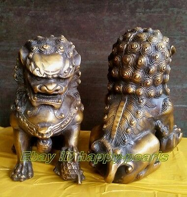 Old Pair Bronze Oriental Lion Foo Dog fenshui Statue Figure Sculpture 15.5cm