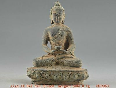 Religion Old Bronze Collectable Handwork Carving Buddha Statue