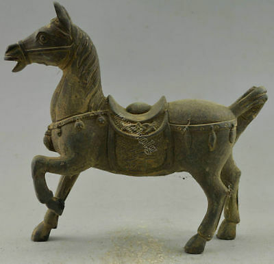 antique excellent china old green patina bronze carved unique Horse statue