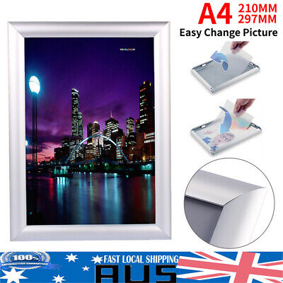 A4 PREMIUM Aluminum Snap Poster Frame Sign Holder Wall Mount Silver 21*30cm
