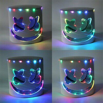 Halloween LED Full Mask DJ-Marshmello Rainbow Marshmallow Helmet Cosplay