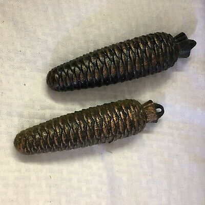2 Large Cast Iron Cookoo Clock Pine Cone Weights