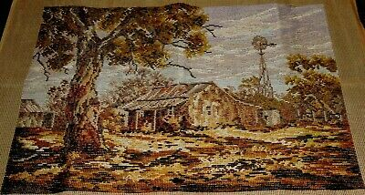 Tapestry Large Trammed Canvas Windmill Homestead Australian Rural Painting New