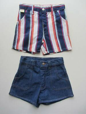 2 pairs unisex vintage shorts denim or striped 70's costume festival age 5-6