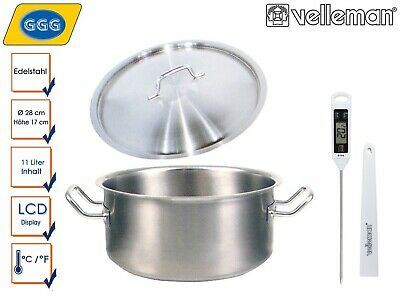 Stainless Steel Cooking Pot Large with Lid and Garthermometer, Casserole Kitchen