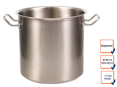 Vegetable Stew Soup Pot Cooking Professional Quality Stainless Steel 17L Ø28cm