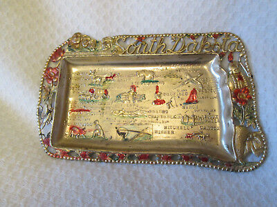 Vintage SOUTH DAKOTA Metal Ashtray Dish Tray 50`s- 60`s Landmarks Souveni Japan