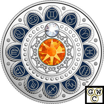 2017 'Gemini-Zodiac Series' Crystalized Proof $3 Silver Coin .9999 Fine(18108)NT