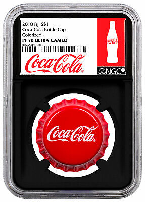 2018 Fiji Coca-Cola Bottle Cap-Shaped 6 g Silver NGC PF70 UC Black Core SKU54045
