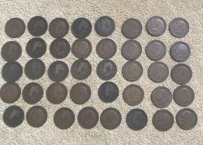 GEORGE V ONE PENNY COINS (Lot 40 X Coins) . 1911 - 1936 Mix Dates