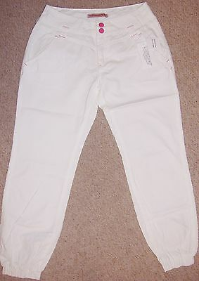 Girls white cotton cuffed trousers trousers in age 13 & 14 years with adj waist