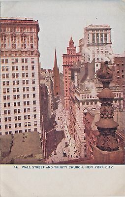 """Wall Street and Trinity Church in New York City - """"Rare"""" Early 1900's Postcard"""