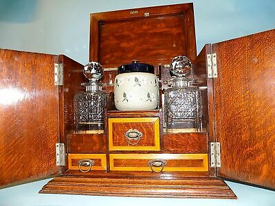 Antique Oak Victorian Smoker's Games Cabinet. Decanters. Cribbage. Quality Item.