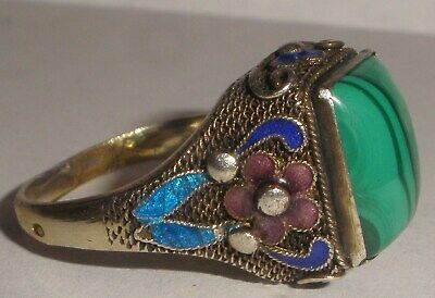 Antique Chinese Export Enamel Silver Ring Malachite size 8.5 adjustable