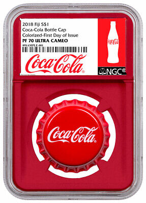2018 Fiji Coca-Cola Bottle Cap-Shaped 6 g Silver NGC PF70 UC FDI Red SKU54449