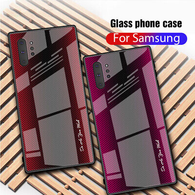 For Samsung Galaxy Note 10 S10 Plus Luxury Fiber Tempered Glass Hard Case Cover