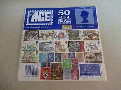 Collection of 50 used Great Britain Postage Stamps.  All different!
