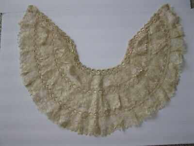 Antique Victorian Ivory Cream Lace Collar Capelet