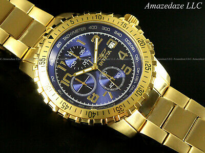 NEW Invicta Men 18K Gold Plated Stainless St. Blue Dial Chronograph Tachy Watch