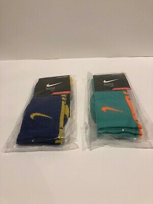 2 Nike Elite Dri-Fit Socks Size 8-12 (Large) Dark Blue/Yellow Turquoise/Orange