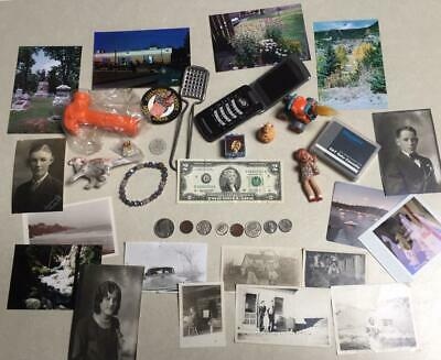 Junk Drawer Lot – U.S. Currency, Coins, Phone, Photos, & Misc Collectables
