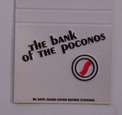 1980s Security Bank Poconos Tannersville PA Monroe Co Matchbook Pennsylvania