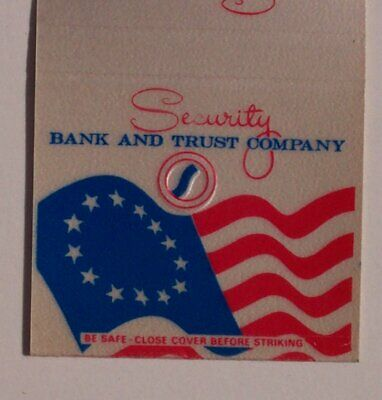 1980s Security Bank US Flag Stroudsburg PA Monroe Co Matchbook Pennsylvania