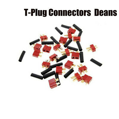 10 Pairs For RC LiPo Battery T-Plug Male Female Connectors Deans with Heatshrink