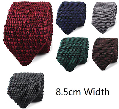 Men's Knit Knitted Tie Classic 8.5cm Wide Woven Pointed