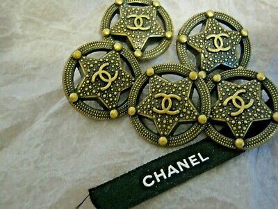 CHANEL 5 BUTTONS bronze Dallas star  23 mm , ABOUT 1 inch metal with  cc logo 5