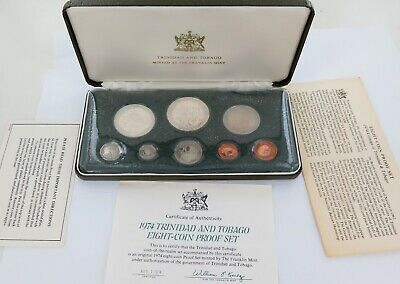 .1974 Trinidad And Tobago 8 Coin Proof Set. Frankiln Mint. Box & Papers.