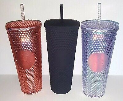 Starbucks Matte Black Studded Spiked Tumbler Cup 24oz iridescent rose gold