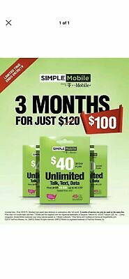 Simple Mobile $40 Plan - 3 Month Service Included ($120 Value) Sim Included