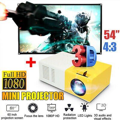 """Led Mini Projector Ultra Portable HD 1080P Home Theater + 60"""" Projection Screen"""