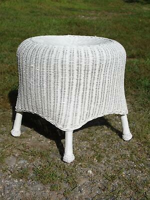 Vintage White Draped Wicker Rattan Sculpted Footstool Ottoman End Table Stool