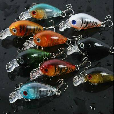 5pcs Fishing Lures Crankbaits Treble Hooks Randomly Baits Tackle Bass Minnow Lot