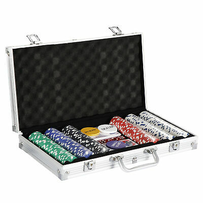 Poker Chip Set 300 Chips 5 Dices Texas Hold'em Cards W/Silver Aluminum Case