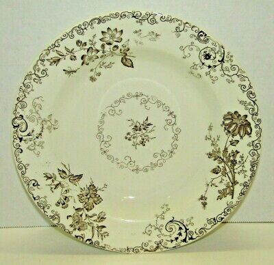 Antique Chelsea PB&S Brown Floral Transfer Ware Large Ceramic Bowl Victorian