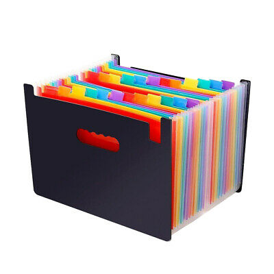 24 Pocket A4 Office Expanding File Box Folder Document Organiser with Flip Cover