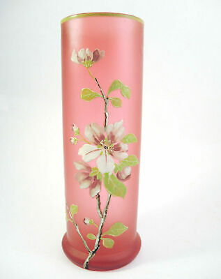Antique Victorian Cranberry Glass Vase hand painted Enamel Apple Blossom c.1900