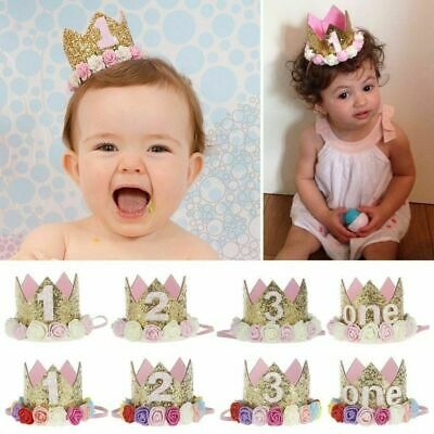 Baby Birthday Crown Hat 1st 2nd 3rd Cake Smash outfit Party Photoshoot Girls New