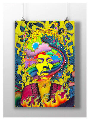 Jimi Hendrix Psychedellic Bright Print Trippy Music Image A3 A4 Size