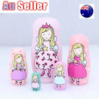 5 Layers Matryoshka Russian Nesting Doll Babushka Wooden Boy Girl Kid Toys Gifts